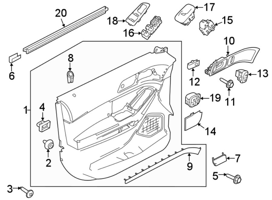 Ford Explorer Door Interior Trim Panel. SPORT, ebony, w/o