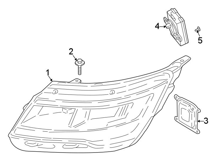 Ford Explorer Headlight. W/o adaptive headlamps, level 3