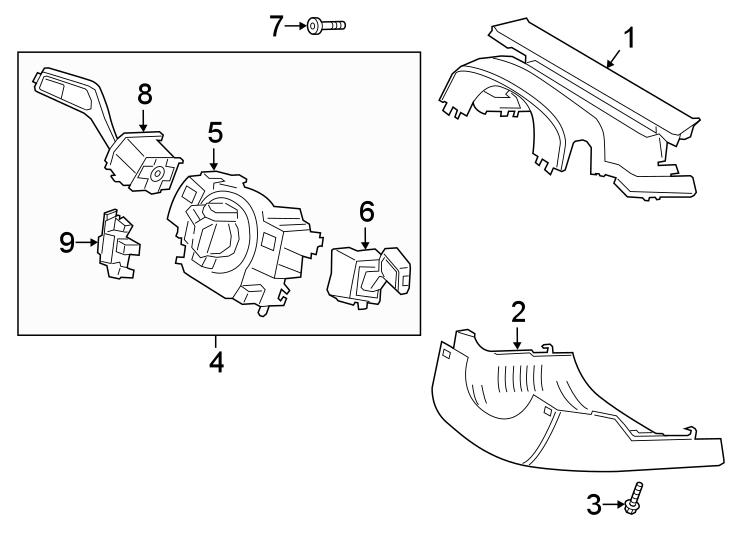Ford Explorer Steering Column Cover. Manual tilt/slide. W
