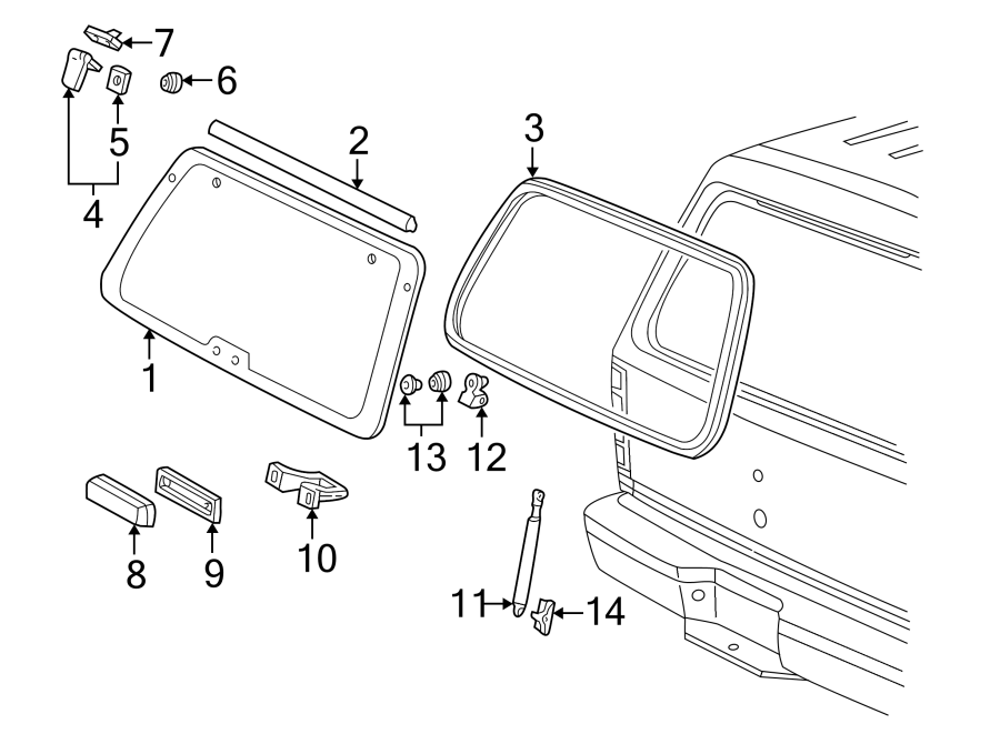 Ford Explorer Sport Back Glass Lift Support Bracket. TO 3