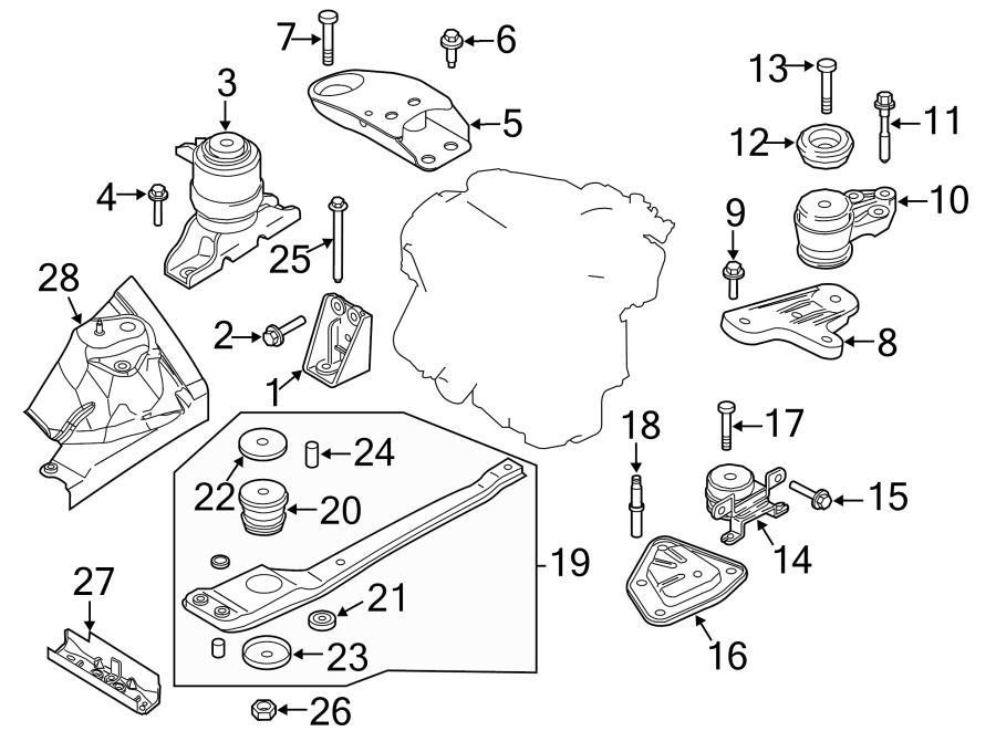 Ford Escape Engine Mount Bolt. 3.0 LITER, 2001-04