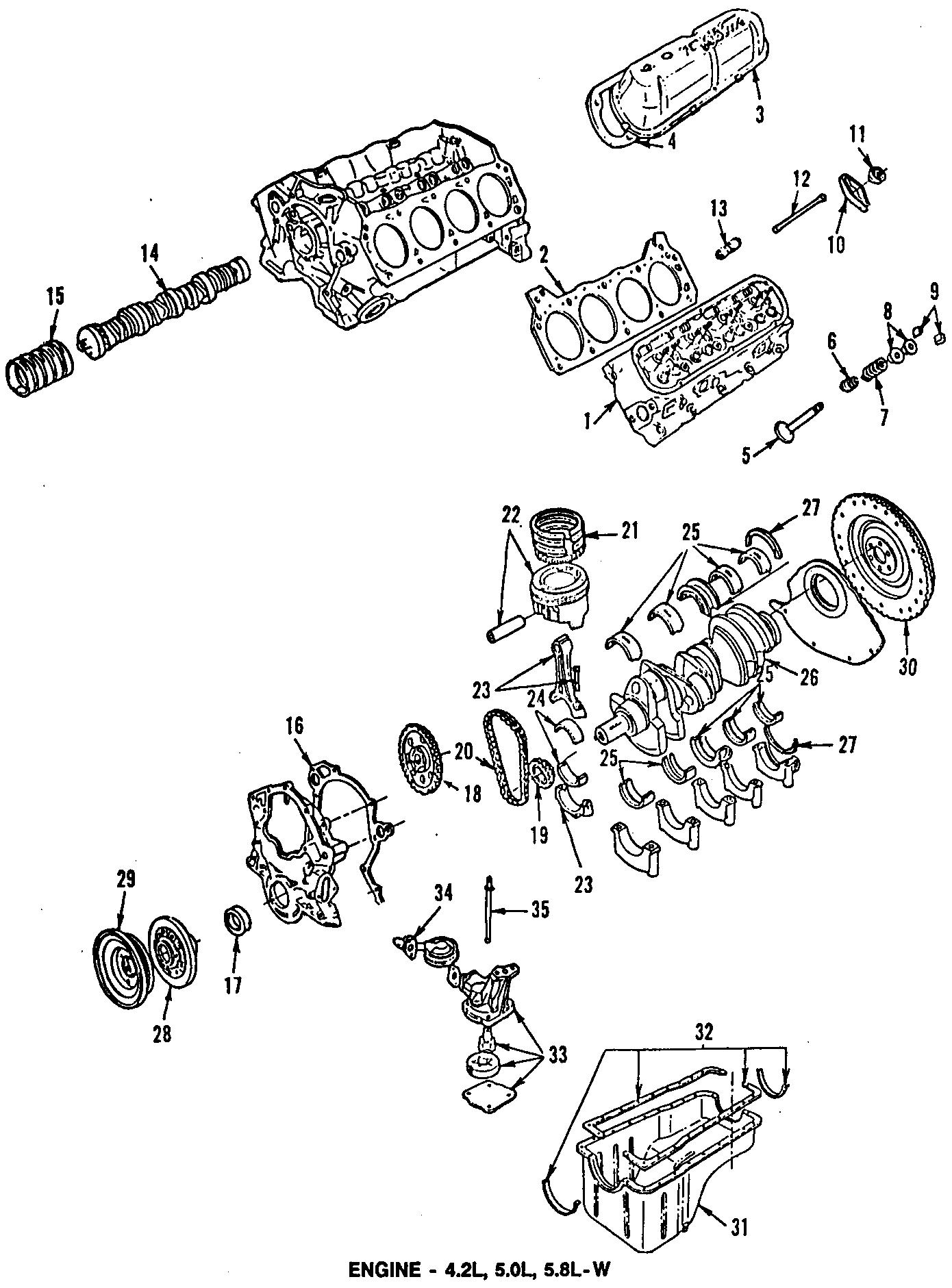 Ford F-250 Engine Valve Cover Gasket. LITER, BEARINGS, VII
