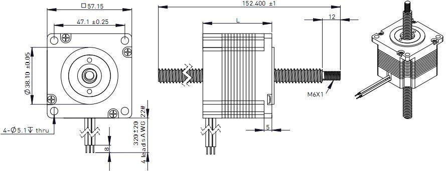NEMA23 Linear Stepper Motor Stepping Motor 57MM