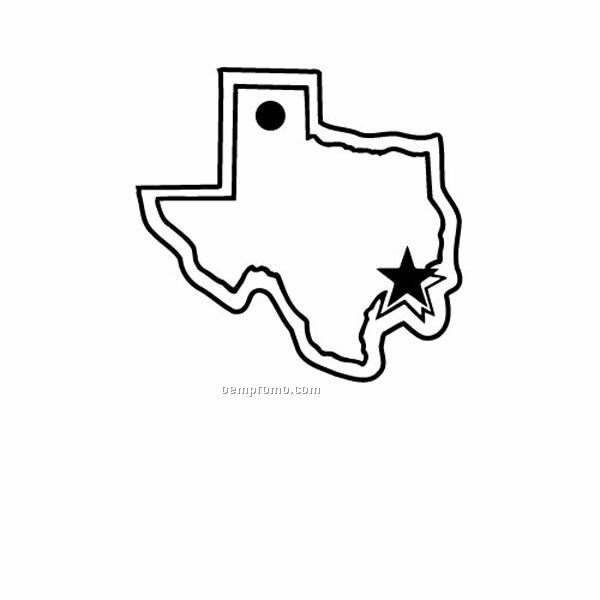 Stock Shape Collection Texas State Outline W/ Star Key Tag