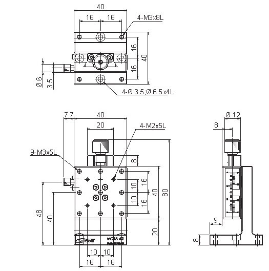 manual dovetail, feeding screw Z-axis positioning stages