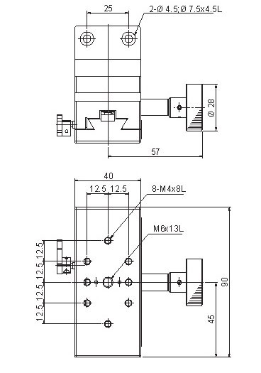 manual dovetail, rack and pinion Z-axis positioning stages