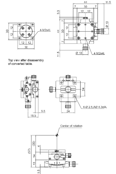 manual goniometer alpha beta axis positioning stages
