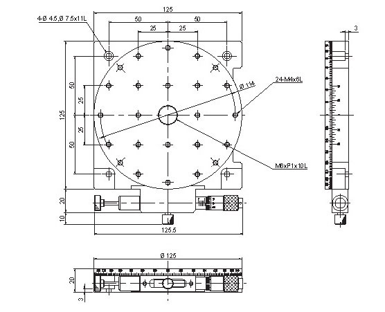 manual precision type positioning stages, table size Ø125 mm, travel distance Coarse 360°, Fine ±5°