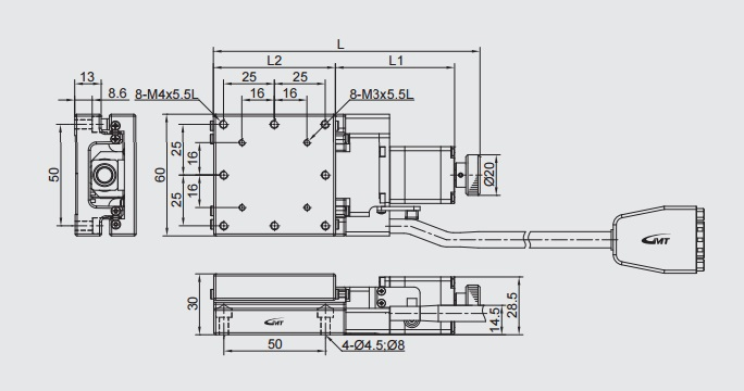 Motorized Single-axis Linear Positioning Stage, stage size