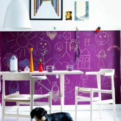 Purple Dining Chair Covers Corrugated Steel Rail Chalkboard Paint On The Wall | Interior Design Ideas - Ofdesign