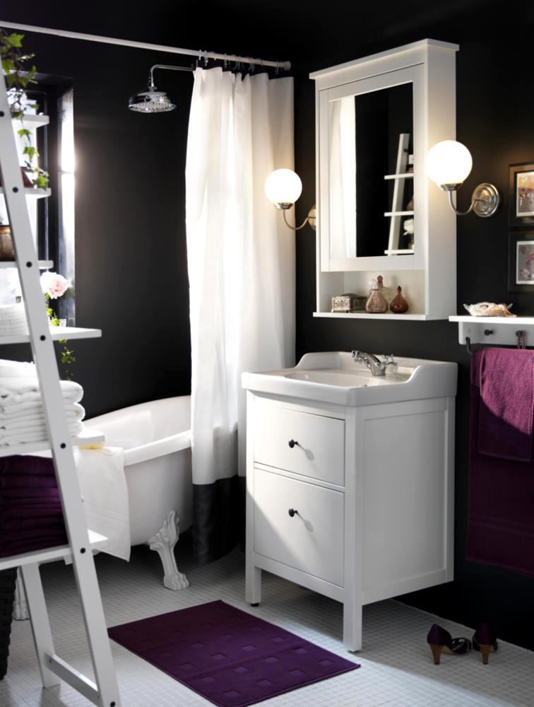 vanity with mirror and chair small dining room chairs chamber of anthracite bathroom design, purple white | interior design ideas - ofdesign