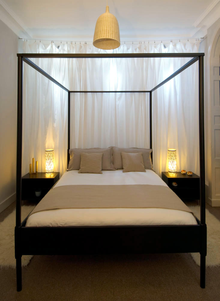 Black canopy bed with steel frame  Interior Design Ideas