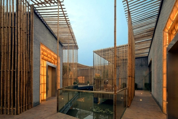 House with bamboo blinds in the traditional architectural