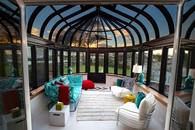 greenhouse kitchen window marble floor enjoy the winter sun behind glass – conservatory ...