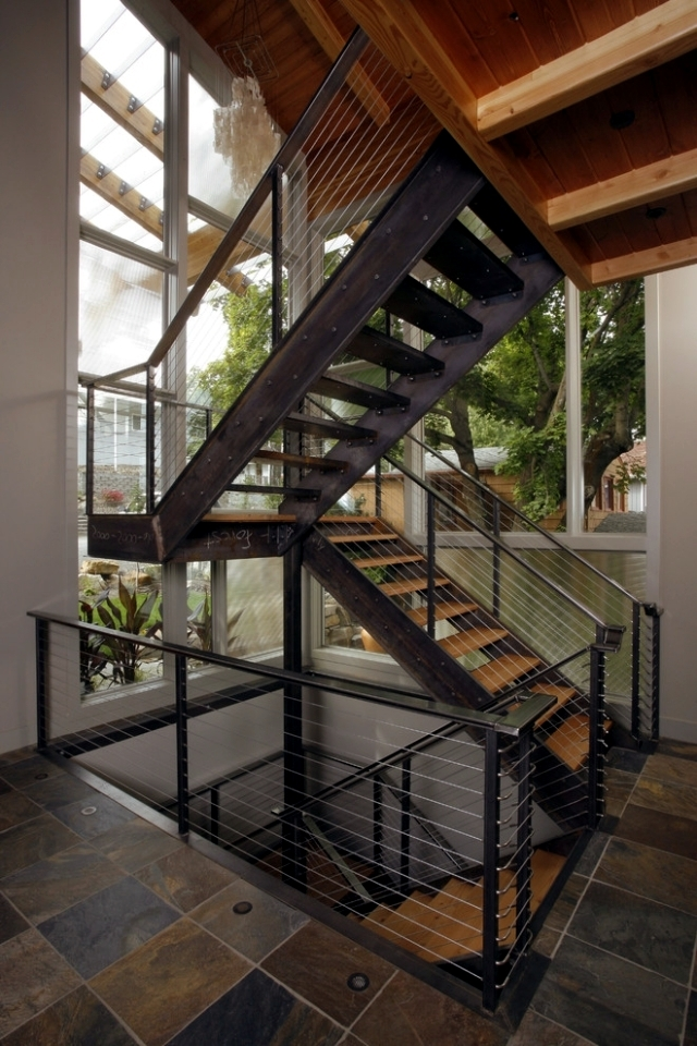 The Modern Steel Staircase Inside And Outside For Amazing Design | Outdoor Steel Staircase Design | Steel Framed Exterior | Indoor | Vertical Wire Balustrade | Prefabricated Steel | Stair Handrail