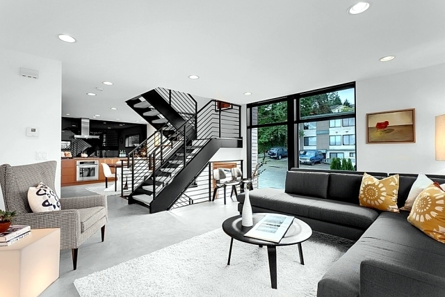 The Modern Steel Staircase Inside And Outside For Amazing Design | House Steps Design Inside | Gallery | Front | In House Construction | Stair Decoration | Grill