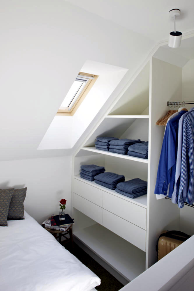 Builtin wardrobe sloping roof  Interior Design Ideas