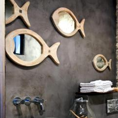 Brown Kitchen Sink Unfinished Chairs Bathroom Mirror Set With Fish Of The Sea | Interior Design ...