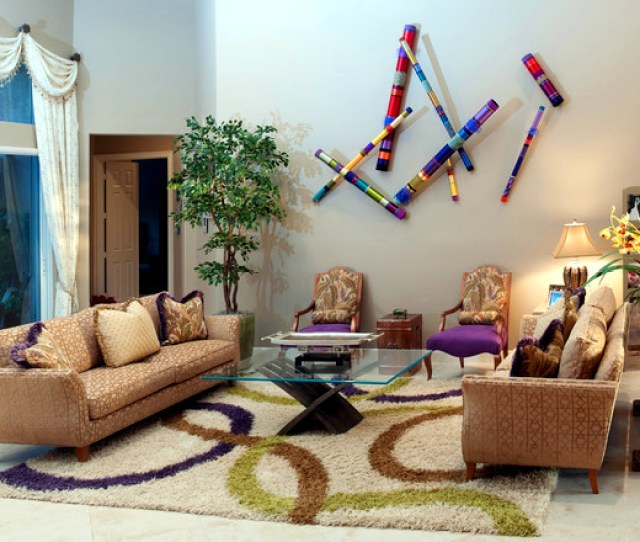 Colorful Painted Ideas For Decoration Bamboo Poles