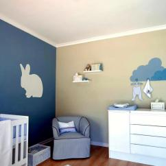 Modern Blue Chair Counter Height Arm Chairs And Beige Wall With A Rabbit Model In Baby ...