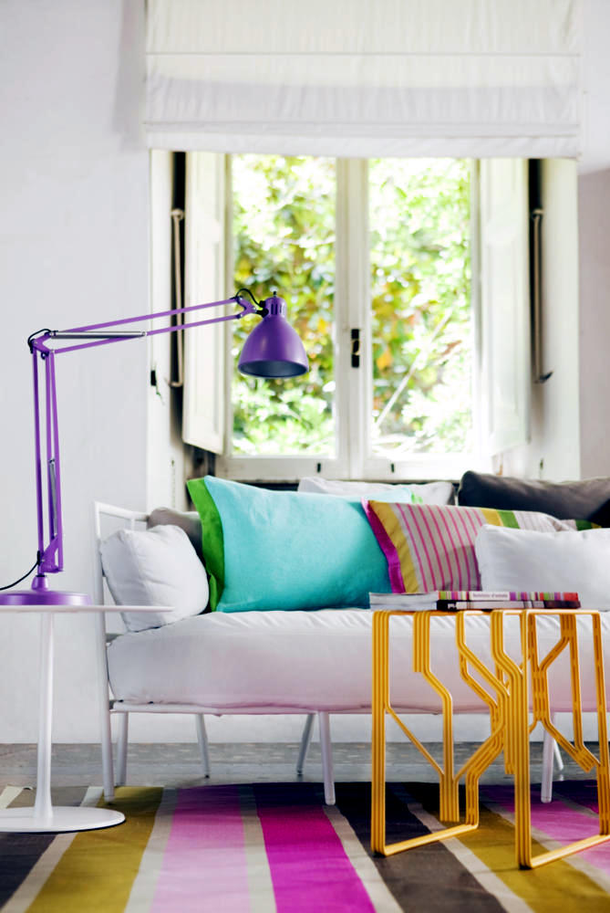 DIY Interior design with colorful cushions and rugs