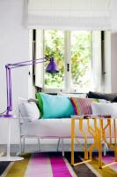 DIY Interior design with colorful cushions and rugs ...