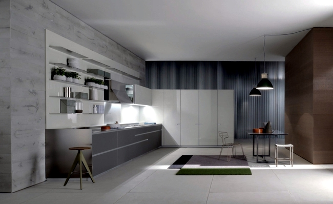 Modern fitted kitchen has minimalist aesthetic  Interior