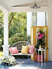 The wooden house covered porch  decorating ideas and