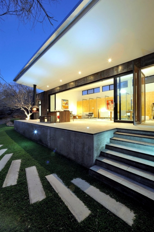 outside kitchen ideas commercial tile modern villa in namibia with the concept of open space ...