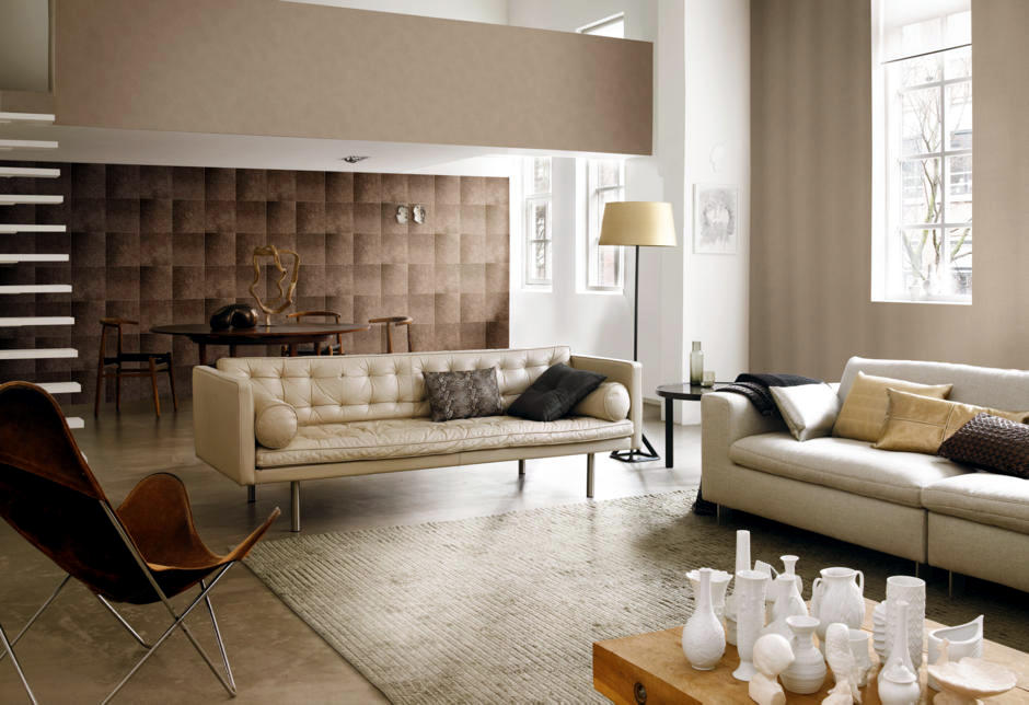 Brown Pattern Background Classic Living Room Interior