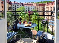 Design small balcony  ideas with colorful furniture and ...