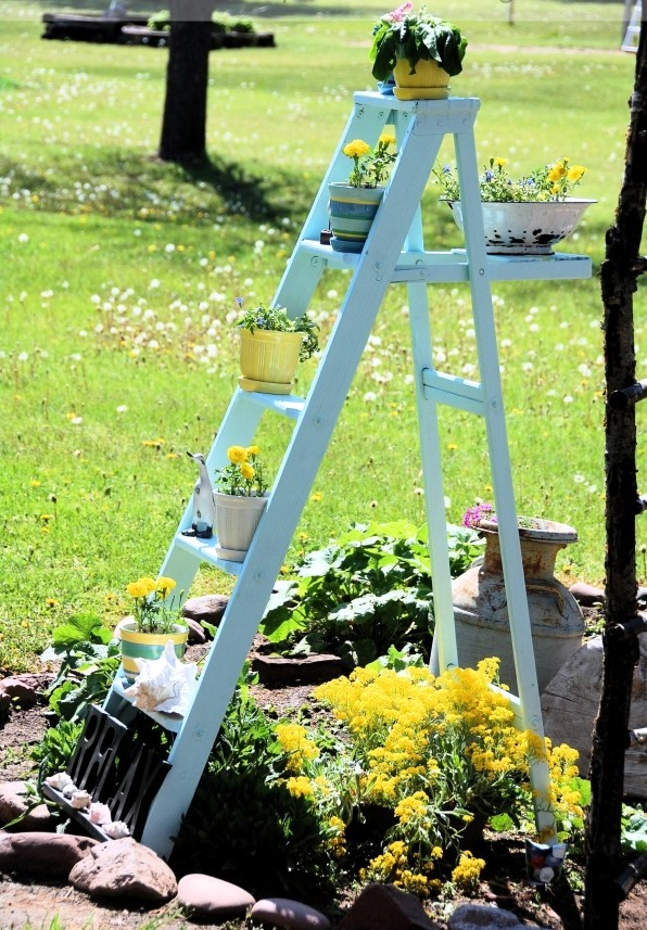 Develop Planter Old Wooden Ladder As Leaders Of The Flowers Used Interior Design Ideas