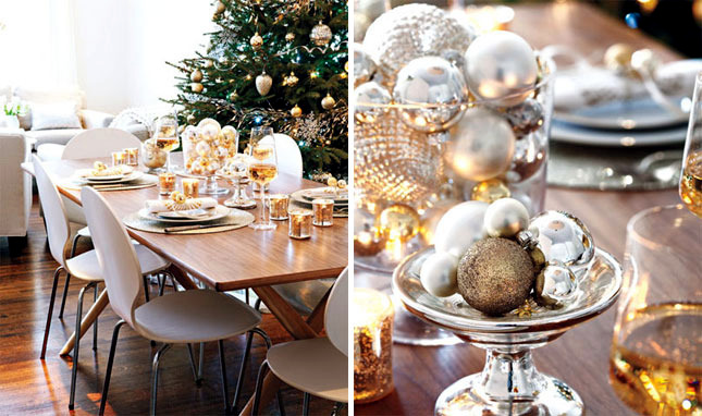 Christmas table in gold and silver  22 ideas glamor  Interior Design Ideas  Ofdesign