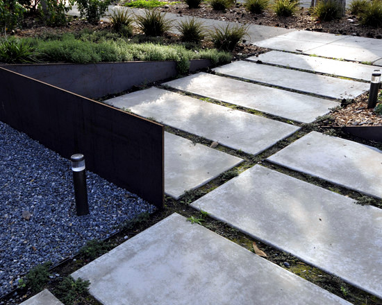 concrete slabs lay in garden