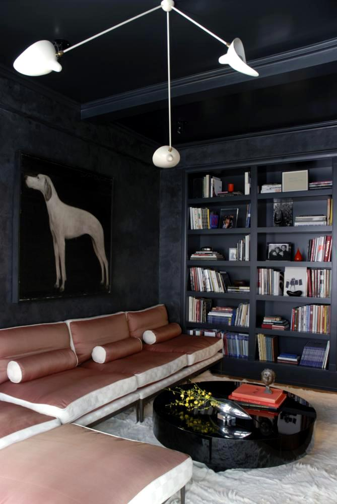 Walls with charcoal portrait of a hunting dog in modern living room  Interior Design Ideas