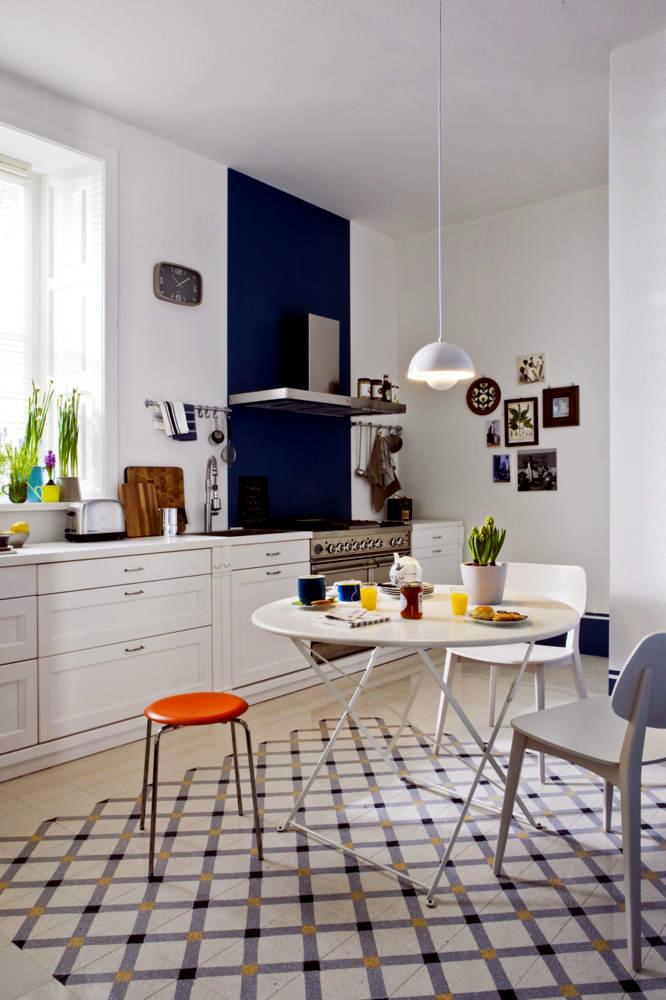 Bright kitchen with a classic Danish design  Interior