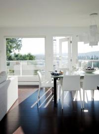 White living room furniture with dark wood floors ...
