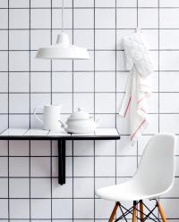 Square, white tiles on the wall and table | Interior ...