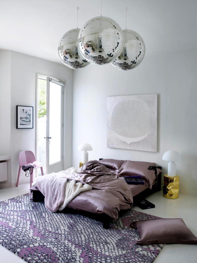 Satin disco balls and pink print  Interior Design Ideas