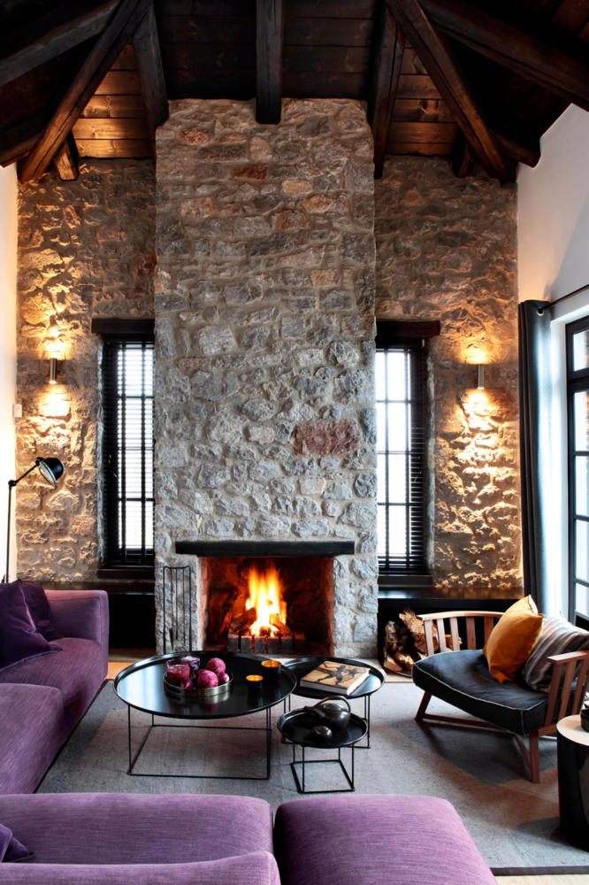Natural Stone Wall In Modernized Historic Building With