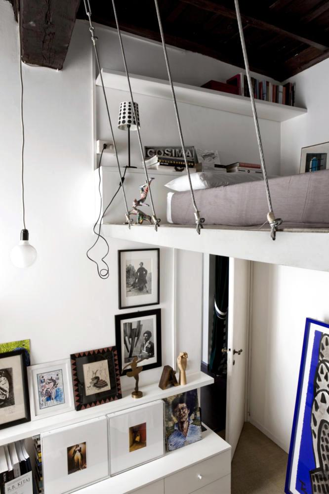 wooden sofa bed green settee built-in hanging loft | interior design ideas - ofdesign