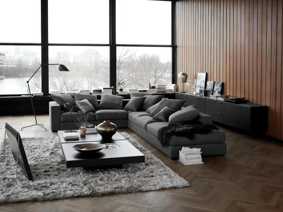 Dark gray sofa in the living room   Interior Design Ideas ...
