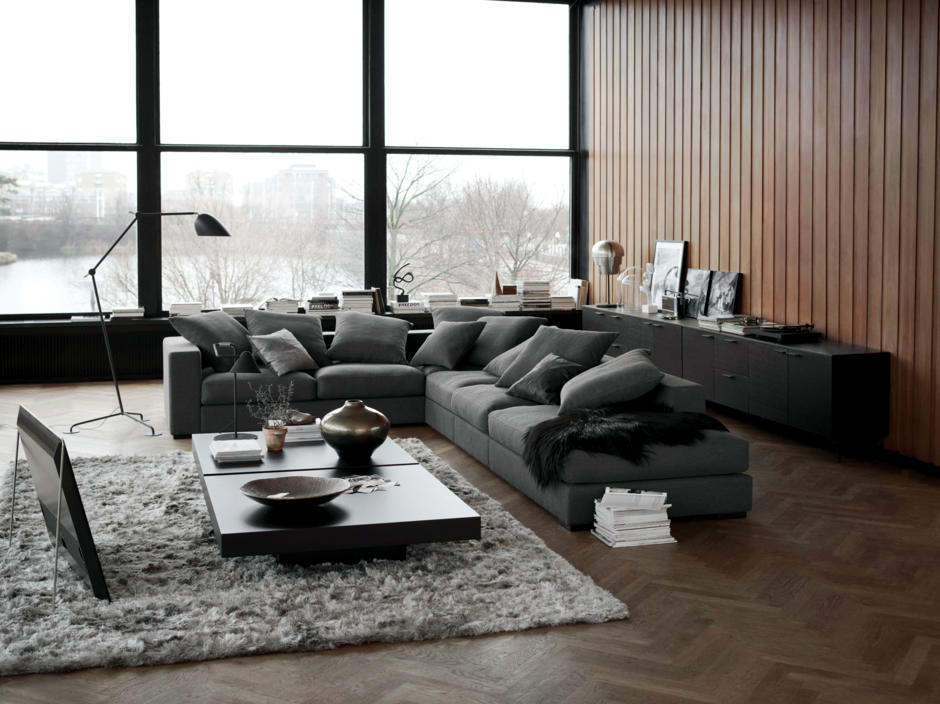 large dark grey corner sofa slumberland como bed reviews gray in the living room interior design ideas ofdesign