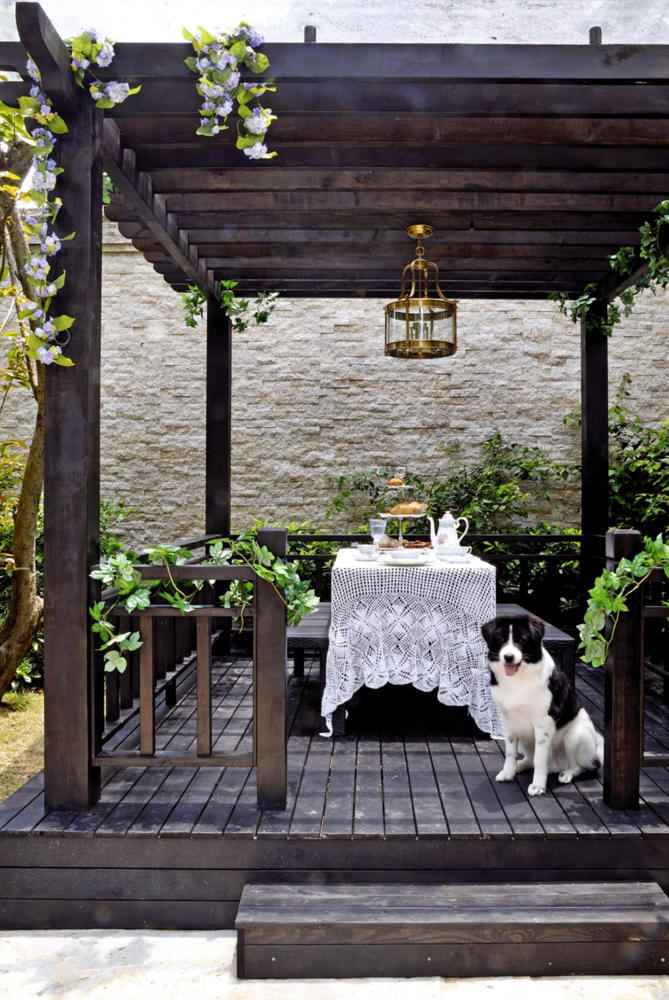 Suspension Table And Benches Set Under Wooden Pergola
