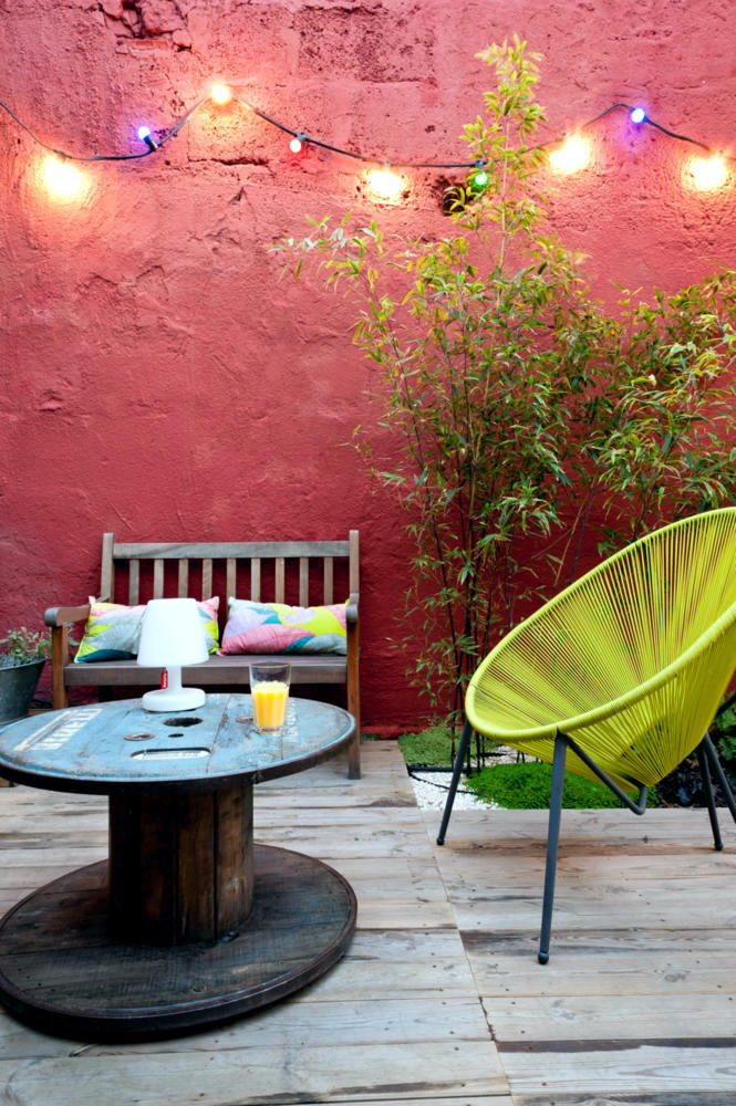 colorful office chairs hanging chair rope knot wooden cable reel as a patio table | interior design ideas - ofdesign