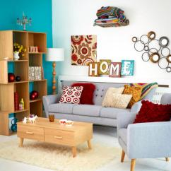 Retro Living Room Color Schemes Brown Couch Grey Pigeon Sitting On Colorful Interior Design