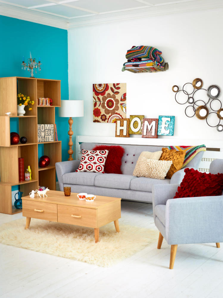 grey sofa living room carpet modern ceiling lights pigeon sitting on colorful retro ...
