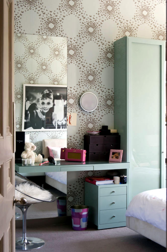 chair design wallpaper inexpensive chaise lounge chairs patterned paper and painted poster of audrey hepburn | interior ideas - ofdesign
