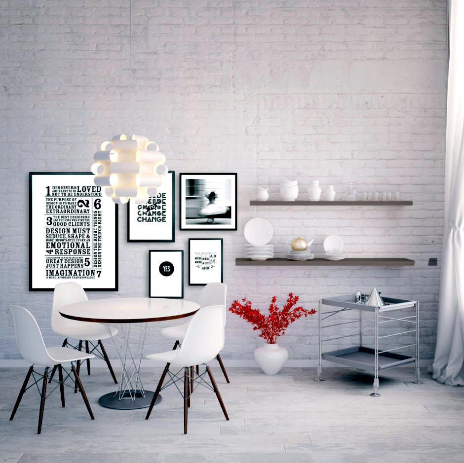 small kitchen table and chairs aid mixer sale optical white brick wall | interior design ideas - ofdesign