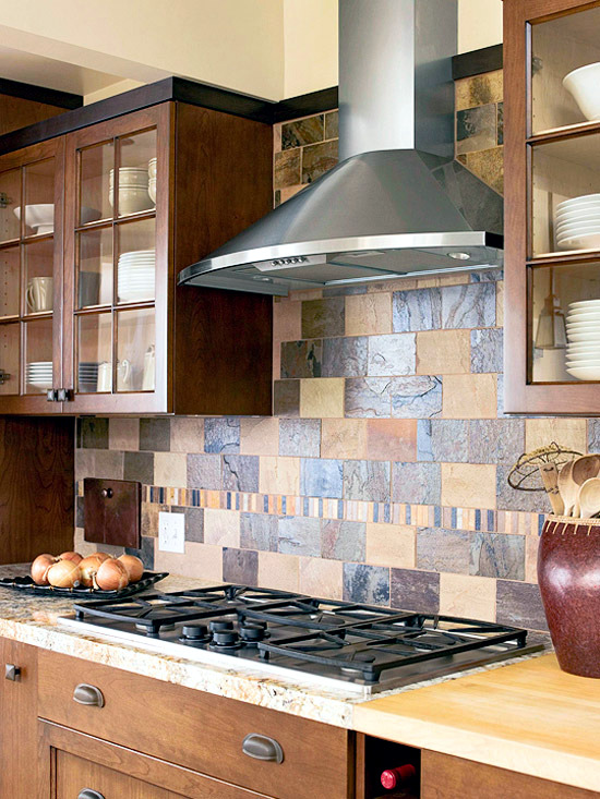 kitchen wall tile island table 30 ideas for design back tiles glass or stone